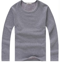 Free Shipping 2013 winter new men's fashion Round collar V collar Monogram embroidery thick warm long-sleeved t-shirt