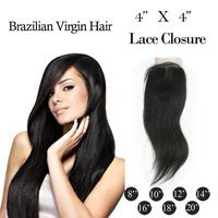 "Manka Hair: Cheapest Virgin Brazilian hair Top Closures 4x4""Swiss Lace Closure Middle Part Hair ,Free Shipping"