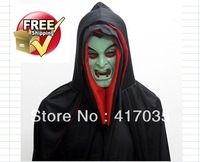 1 set Halloween clothes mask Halloween costume party dress more double red in cap noctilucent vampire mask Halloween festival