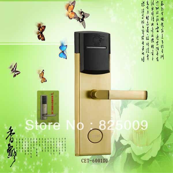hot sale stainless steel hotel card key lock system / hotel door handle locks(CET-6001DJ)(China (Mainland))