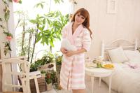 Herfair lounge nightgown stripe robe Pajama Sets sleepwear nightclothes
