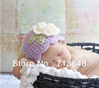 free shipping handmade violet baby hat handmade crochet photography props baby hat