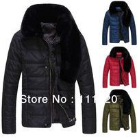Winter Men's Fur Callar Parkas Fashion Men Jackets Pure Color Coats