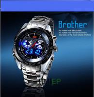 Stainless Black Men's Clock Fashion Binary LED Pointer 30AM Waterproof Watch