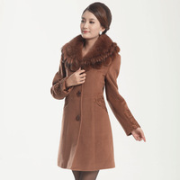 2013 women's fox fur wool coat medium-long woolen outerwear