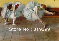 Oil Painting Reproduction on Linen Canvas,Tuileries,Two Ballet Dancers by Edgar Degas,Free DHL FAST Shipping,100%handmade