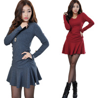 2013 autumn and winter women thickening slim solid color long-sleeve basic dress one-piece dress
