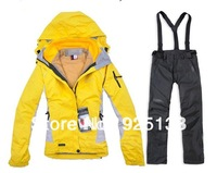 Fashion women best quality brand Ski suits jacket + trousers set winter warm outdoor jacket and pants set