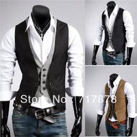 New Arrival Morden Men's Top Slim Fit Skinny Dress Vest Suit Waistcoat Black 3 Sizes Freeshipping