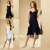 Free shipping!Cheap purple spaghetti strap chiffon tea length bridesmaid dress brides maid dress BD084