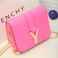 PU  New 2013 women's candy color handbag fashion big brand y bag women messenger COVER bag chain small leather bags hot selling