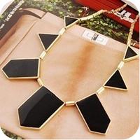 On0372 fashion accessories black geometry irregular pendant necklace