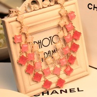 European and American big box super beautiful color gradient pink dress necklace big necklace