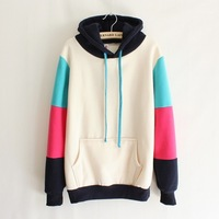 Autumn and winter sweatshirt casual top color block decoration with a hood women's sweatshirt fleece