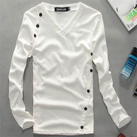 2013 men's clothing slim male clothes V-neck non-mainstream ultra elastic long-sleeve t-shirt