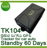 Free Shipping! Car/vehicle GPS tracker GPS104 TK104 60days standby quad-band Car GPS tracking device