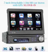 "2014 7"" In-dash 1 Din Car Gps Head Unit 3g Dvr+dvb-t-in Sat Nav Mp3 Cd Dvd for  Bt Fm free 4gb Map Card Dhl free Shipping"