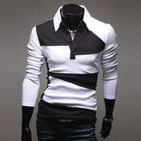 New winter Fashions for Men, personalized long-sleeved polo T-shirt bottoming, Slim free shipping, black and white mixed colors
