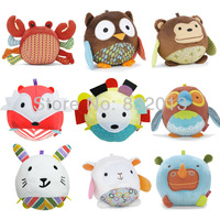 Retail! 2013 High Quality Hide Farm Owl Activity Toy Multi-functional Soft Plush Animal Comfort Doll Rattle Free Shipping