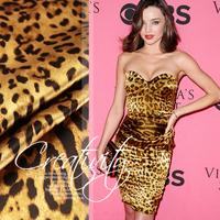 Golden leopard print mulberry silk satin fabric