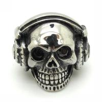 Wholesale Price Cool Smiling Skull Listening Music Black Crystal Eyes Big Earphone Stainless Steel Ring Special Gift