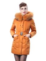 Free shipping Women's Down Jacket fa luxury raccoon fur thickening slim women's wadded jacket medium-long cotton-padded jacket