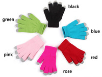 Free shipping,fahsional  warm winter touch gloves capacitive screen knit gloves conductive gloves, six colors, h042