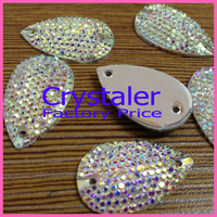 Free Shipping, 100pcs/Lot, 7*12MM  All-star Crystal AB sew on teardrop stones flat back resin sew on rhinestones