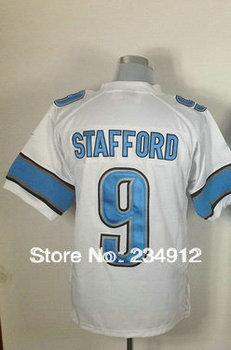 Wholesale Jerseys-Authentic Football Jerseys Men's Matthew Stafford 9 White/Blue Game Jerseys