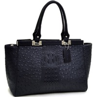 Women New Designer Leather Handbags High Quality Ostrich and Croco Fusion Wide Petite Shoulder Bag Tote Bags
