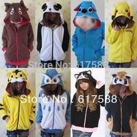 Kawaii Cartoon Anime Animal Pikachu Panda Pink Stitch Umbreon Rilakkuma Bear Women Men Hoodie Jacket Cosplay Couple Hoody Fleece