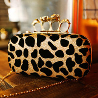 Free Shipping 2013 new Korean female Europe and America leopard Print evening bag skull ring clutch bag Messenger CX3023