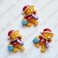 20*30mm resin kawaii Chirstmas bear flat back cabochon for decoration free shipping 50pcs/lot