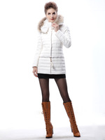 2013 New Arrived Winter Thick Extra Large Fur Collar Down Coat White Duck Feather Women's Medium-long Down Jacket Outerwear
