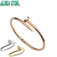 2013Europe men and women rose gold nails personalization titanium steel bracelet,plated18K gold bracelet couple bracelets,JB1309