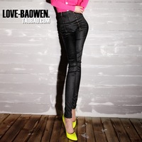 2013 autumn fashion black high waist zipper casual pencil trousers female