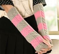 Fast arrived  Women's Wrist glove  striped Long half-finger  mitten knitted  gloves 1 pair