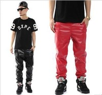 Men`s Fashion Faux Leather Pants Slim Motorcycle Hiphop Red Black PU Trousers Sweatpants Slim Mens Skinny Pants