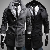 2013Free shipping European style detachable hat men's woolen the wild jacket mens dust coat Slim horn button wool coat outwear