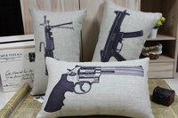 2012 3PCS free shipping linen 30CM*50CM Retro Vintage world gun pistol  cotton and linen pillow home improvement sofa cushion