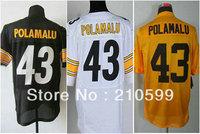 free shipping elite black white yellow Pittsburgh Troy Polamalu jersey 43# accept mix order name number sewn on sz m - 3xxl