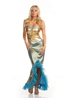 women's Christmas Halloween costume green mermaid stage costumes blue dress