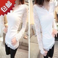 Lace sexy V-neck women's all-match basic shirt elegant slim long-sleeve T-shirt