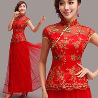 The bride red bridal evening dress cheongsam long design bridal wear evening dress 799