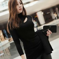 2013 autumn and winter women sexy cutout medium-long turtleneck long-sleeve shirt solid color basic t-shirt