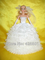 New White Elegant Luxurious Handmade wedding dresses flower girl for Babie doll Free ship