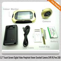 "Free Shipping!!3.2"" Touch Screen Digital Video Peephole Viewer Doorbell Camera DVR IR,Free 2GB"