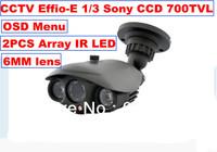 DHL Free Shipping:CCTV Effio-E 1/3 Sony CCD 700TVL OSD Menu High Line Array IR LED Security Camera 6mm Surveillance Camera