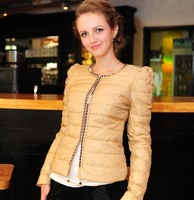 High quality beading ladies slim down coat female short design missfofo
