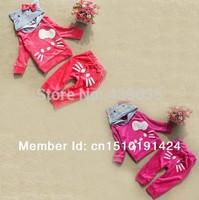 SH210 Retail Hello Kitty Girl's Tracksuits Children Velvet Kitty cat sport suits Girl's cat Hooded sweater + cat pp pants